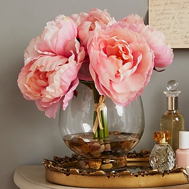 Ophelia & Co. Peonies in a Glass Vase w/ River Rocks and Faux Water