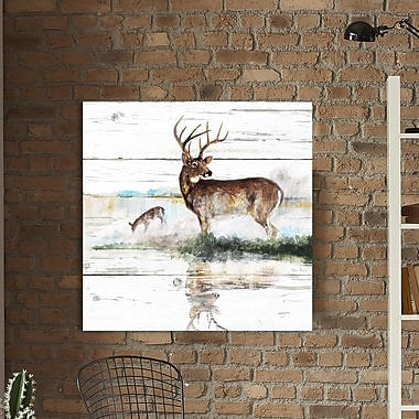 Loon Peak 'Rustic Misty Deer' Painting Print on Wrapped Canvas; 36'' H x 36'' W