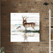 Loon Peak 'Rustic Misty Deer' Painting Print on Wrapped Canvas; 28'' H x 28'' W