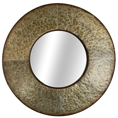 Gracie Oaks Elsworth Round Galvanized Wall Mirror