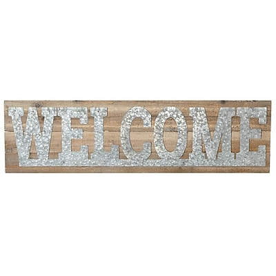 Gracie Oaks Elsworth Galvanized Welcome Wall D cor