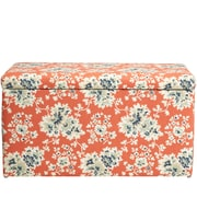 August Grove Barbour Floral Cotton Upholstered Storage Bedroom Bench; Coral