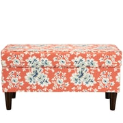 August Grove Barbour Cotton Upholstered Storage Bedroom Bench; Coral