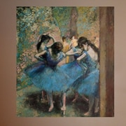 Astoria Grand 1890 'Dancers in Blue' by Edgar Degas Oil Painting Print Poster; 42.5'' H x 48'' W