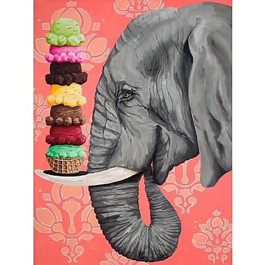 East Urban Home 'Ice Cream Ele' Print on Canvas; 40'' H x 30'' W