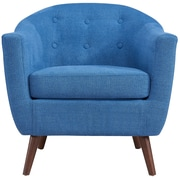 George Oliver Jacob Solid Fabric Barrel Chair; Blue