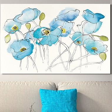 Latitude Run 'Black Line Poppies III Watercolor' Watercolor Painting Print on Wrapped Canvas
