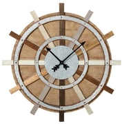 Gracie Oaks Oversized Elsworth Wagon Wheel 38.88'' Wall Clock