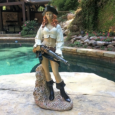 HomeStyles Life's a Beach Lady Pirate Holding Gun Statue