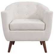 George Oliver Jacob Solid Fabric Barrel Chair; Beige