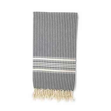 Highland Dunes Classic Pestemal Fouta Turkish Beach Towel; Charcoal