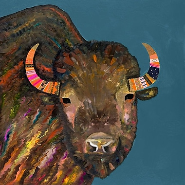 Bloomsbury Market 'Bison w/ Ribbons' Print on Wrapped Canvas; 18'' H x 18'' W