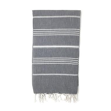 Highland Dunes Striped Pestemal Luxury Beach Towel; Gray