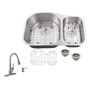 16 Gauge Stainless Steel 31.5'' x 20.5'' Double Basin Undermount Kitchen Sink w/ Gooseneck Faucet