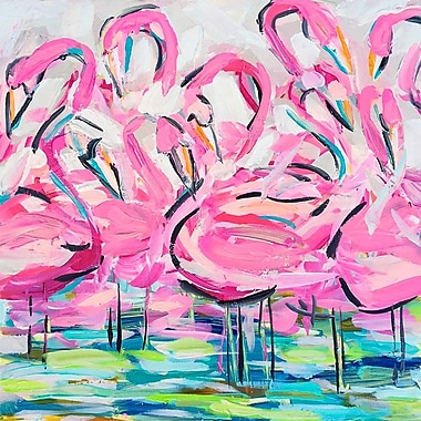 Bayou Breeze 'Flamingos' Print on Wrapped Canvas; 21'' H x 21'' W