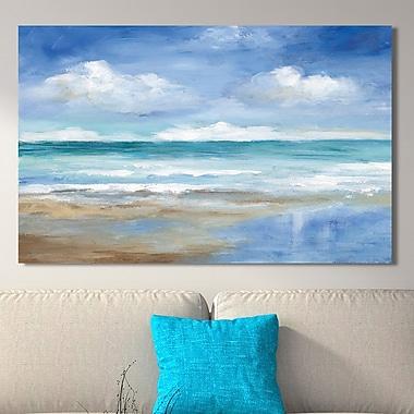 Highland Dunes 'Washy Coast Ii' Painting Print on Wrapped Canvas; 28'' H x 48'' W