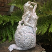 HomeStyles Life's a Beach Sea Nymph 'Thoosa' Shell Statue; Crackle Salmon