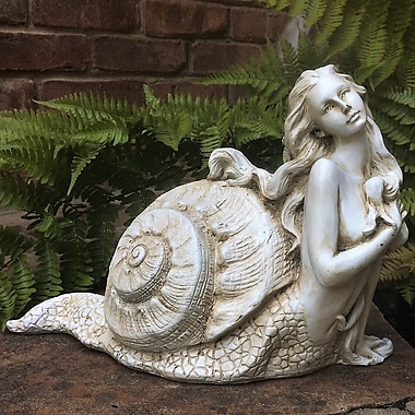 HomeStyles Life's a Beach Sea Nymph 'Psamathe' Shell Statue; Antique White