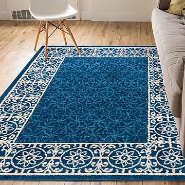 Charlton Home Metropolis Modern Solid Tile Work Blue Area Rug; 2' x 3'