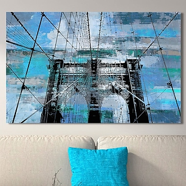 Ivy Bronx 'Brooklyn Bridge IV' Graphic Art Print on Wrapped Canvas; 18'' H x 30'' W