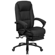 Red Barrel Studio Worthen Reclining Swivel Office High-Back Executive Chair; Black