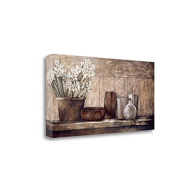 Tangletown Fine Art 'Hyacinth on a Sideboard' by Linda Thompson Painting Print on Wrapped Canvas