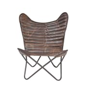 Williston Forge Ruben Cocoa Ribbed Wing Leather Chair