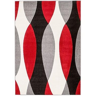 Orren Ellis Grimes Gray/Black/Red Area Rug; 5' x 7'