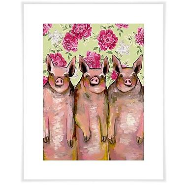 Ebern Designs 'Little Piggies - Floral' by Eli Halpin Acrylic Painting Print