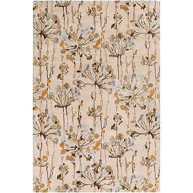 Red Barrel Studio Walshville Hand-Tufted Floral and Paisley Beige/Brown Area Rug; 8' x 11'