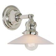 Gracie Oaks Edgar 1-Light Frosted Glass Wall Sconce; Polished Nickel