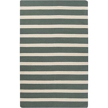 Winston Porter Kramer Ivory/Deep Sea Green Striped Area Rug; 8' x 11'