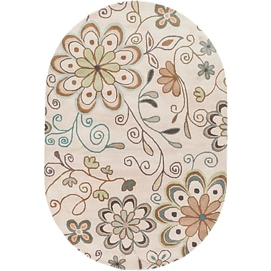 Winston Porter Hayden Beige Floral Area Rug; 4' x 6'