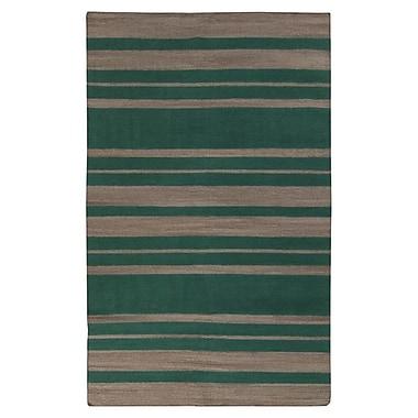 Winston Porter Kramer Emerald Green & Silver Cloud Striped Area Rug; Runner 2'6'' x 8'