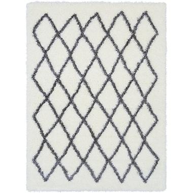 Williston Forge Kolton White/Medium Gray Area Rug; 6'7'' x 9'6''