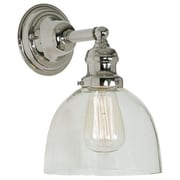 Gracie Oaks Edgar 1-Light Mouth Blown Glass Wall Sconce; Polished Nickel