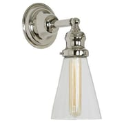 Gracie Oaks Edgar Contemporary 1-Light Clear Glass Wall Sconce; Polished Nickel