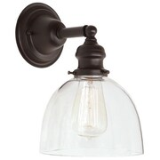 Gracie Oaks Edgar 1-Light Mouth Blown Glass Wall Sconce; Oil Rubbed Bronze
