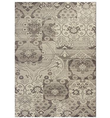 Winston Porter Galvan Black & Gray Brocade Area Rug; 7'10'' x 11'2''
