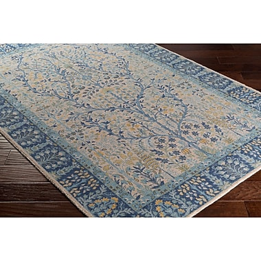 Charlton Home Akins Rectangle Gray/Blue Area Rug; 5'3'' x 7'6''