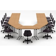 Team Tables Meeting Seminar 7 Piece Combo 15' U-Shape Conference Table; Natural Beech