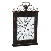 Fleur De Lis Living Rectangle Metal and Wood Clock