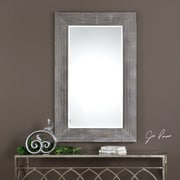 17 Stories Contemporary Gray and Steel Wall Mirror