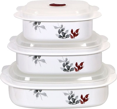Corelle Kyoto Leaves Microwave Cookware 3-Container Food Storage Set WYF078281344295