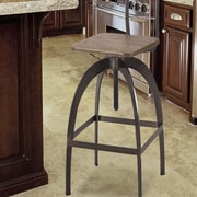 17 Stories Rhodes Adjustable Height Brown Bar Stool