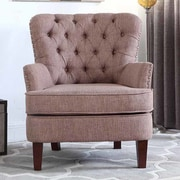 Alcott Hill Brazell Nailhead Button Tufted Armchair; Brown