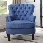 Alcott Hill Brazell Nailhead Button Tufted Armchair; Blue
