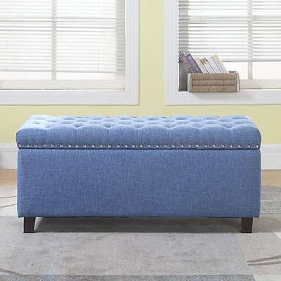 Alcott Hill Brazil Nailhead Button Tufted Storage Ottoman; Blue