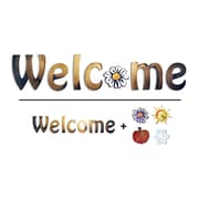 August Grove 'Welcome' w/ seasonal Icons Wall Decal