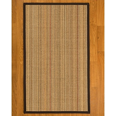 Bayou Breeze Aura Hand Woven Fiber Sisal Brown/Fudge Area Rug w/ Rug Pad; 4' x 6'